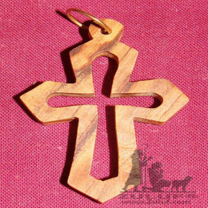 Olive Wood Cross Pendant Hand Carved Zuluf Holy Land Gifts PEN060 - Zuluf
