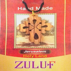 Olive Wood Cross Pendant Necklace Christian Holy land Bethlehem NEW GIFT - PEN166 - Zuluf