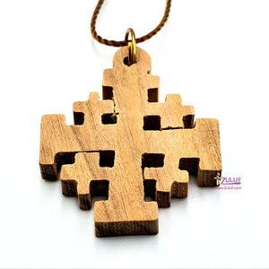 Olive Wood Crusaders Pendant Charm Jerusalem Cross Handicraft Bethlehem Holy land (OW-PEN-053) - Zuluf