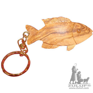 Olive Wood Fish Key Chain Hand Carved Jerusalem - Zuluf Collection (Ow-Kc-019) - Zuluf