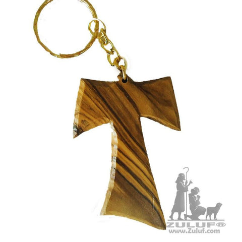 Olive Wood Franciscan Tau TAO Cross religious Key Chain holy land (OW-KC-005) - Zuluf