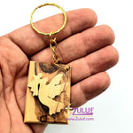 Olive wood hand made Angel and Dove Keychain KC218 - Zuluf