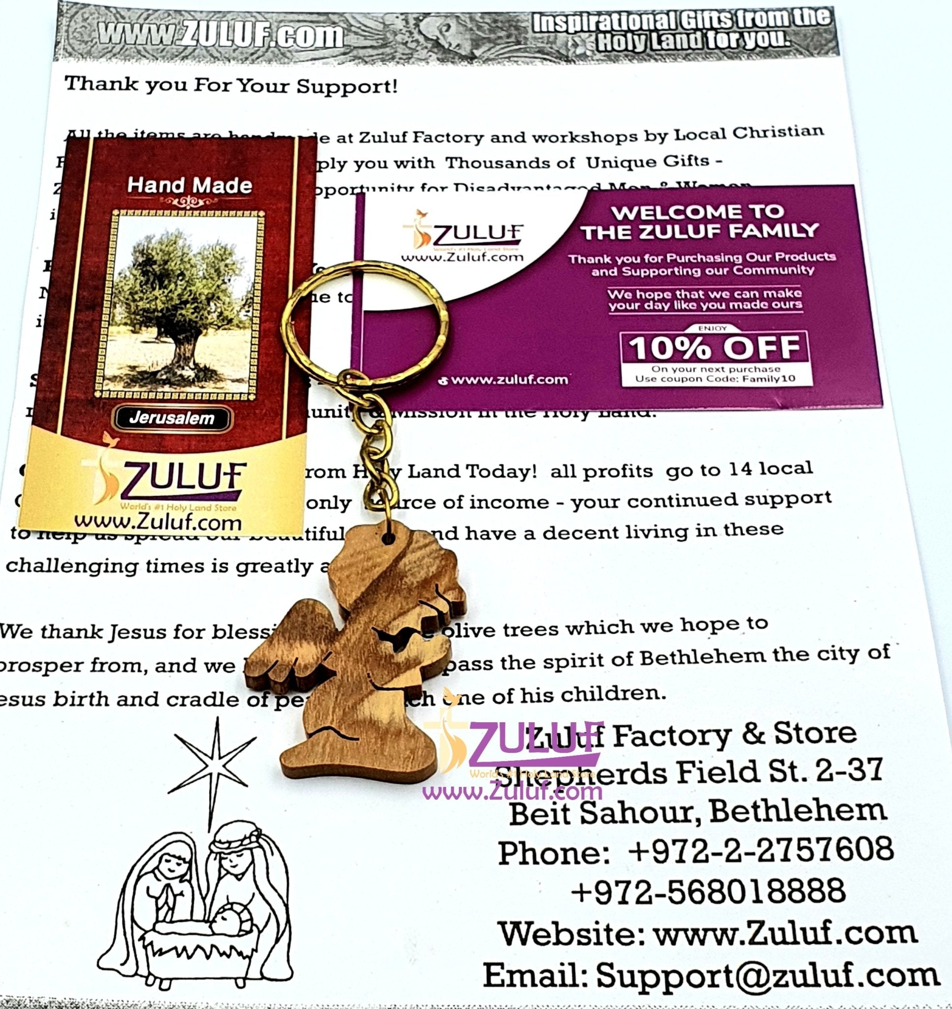 Olive wood hand made Angel praying keychain KC212 - Zuluf
