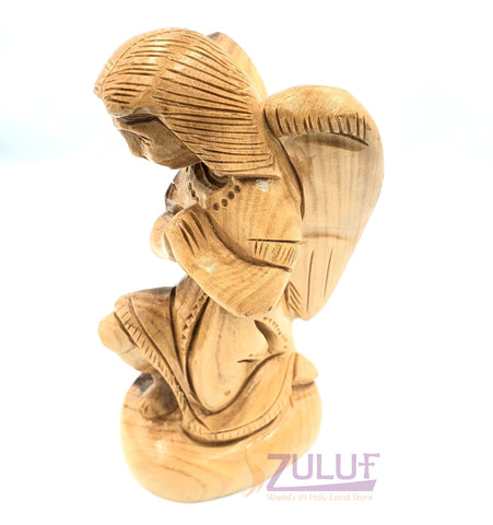 Olive Wood Hand Made Angel Praying Wood Carving 14cm ANG001 - Zuluf