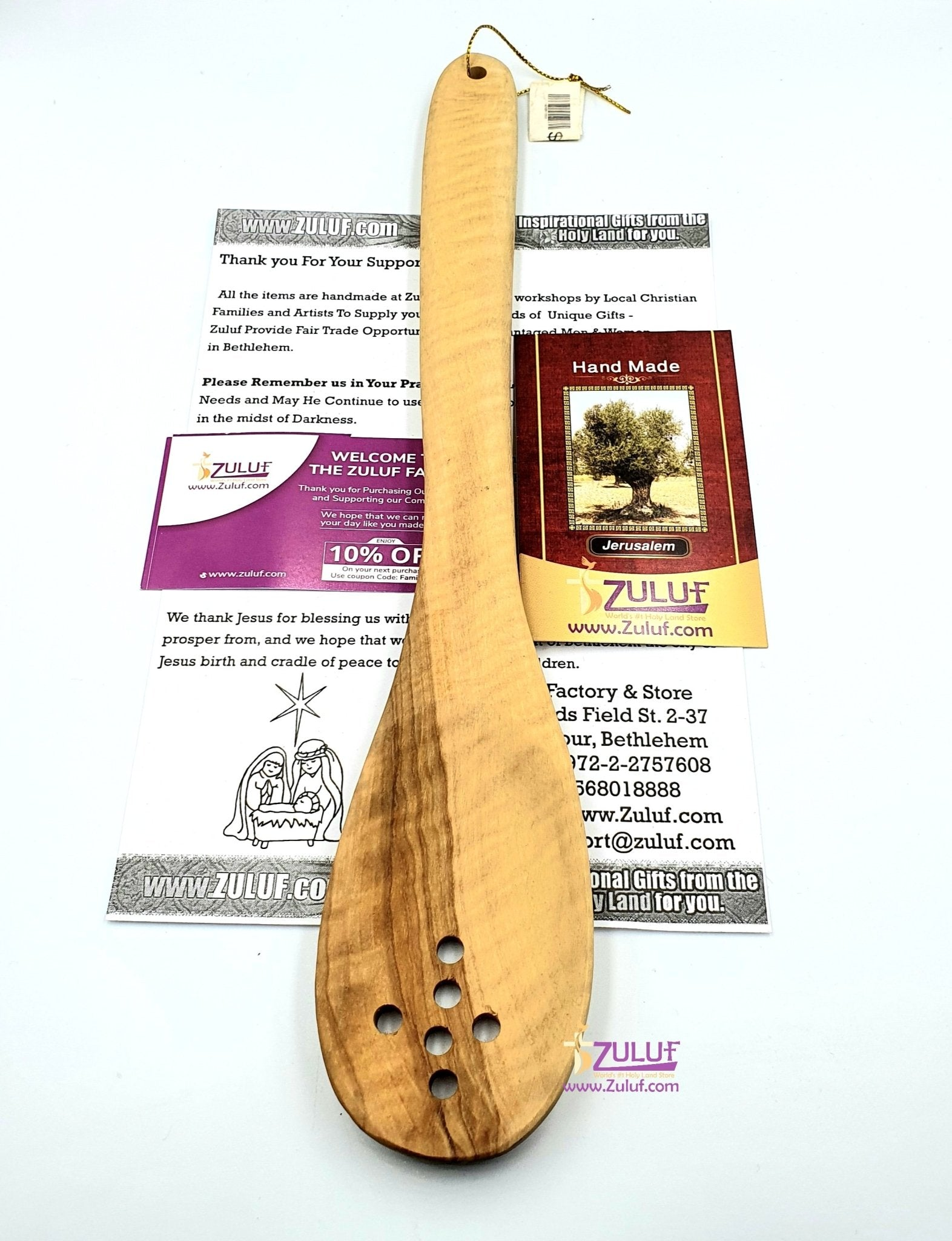 Olive wood hand made big spoon With five holes in the shape of a cross KIT001 - Zuluf