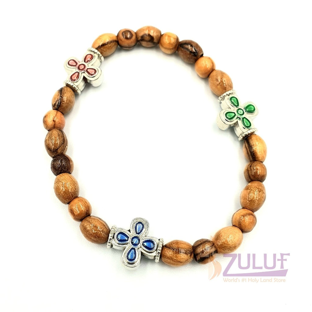 Olive wood hand made bracelet with 3colored crosses BRA059 - Zuluf