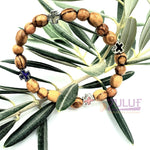 Olive wood hand made bracelet with 3colored crosses BRA061 - Zuluf