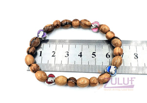 Olive wood hand made bracelet with 4 love icons BRA064 - Zuluf
