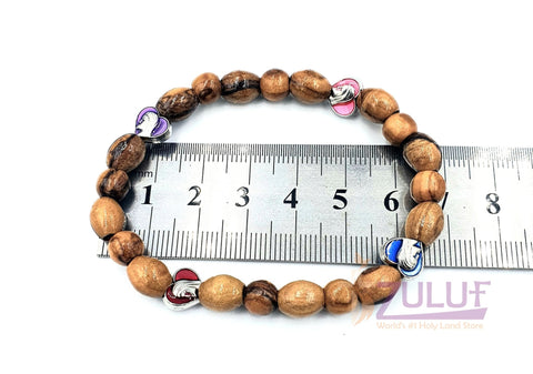 Image of Olive wood hand made bracelet with 4 love icons BRA064 - Zuluf