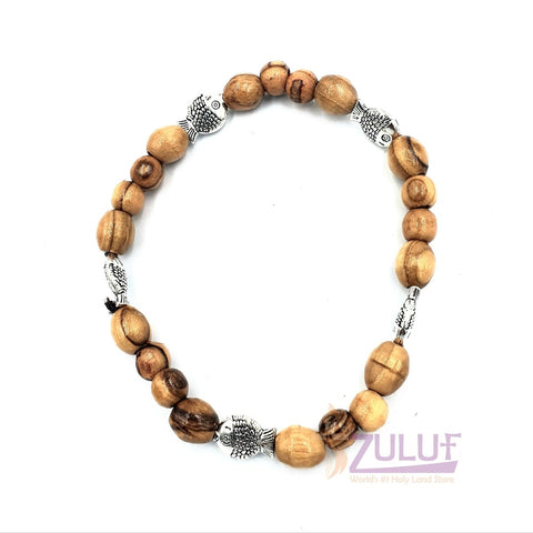 Image of Olive wood hand made bracelet with 4 metallic fish BRA062 - Zuluf
