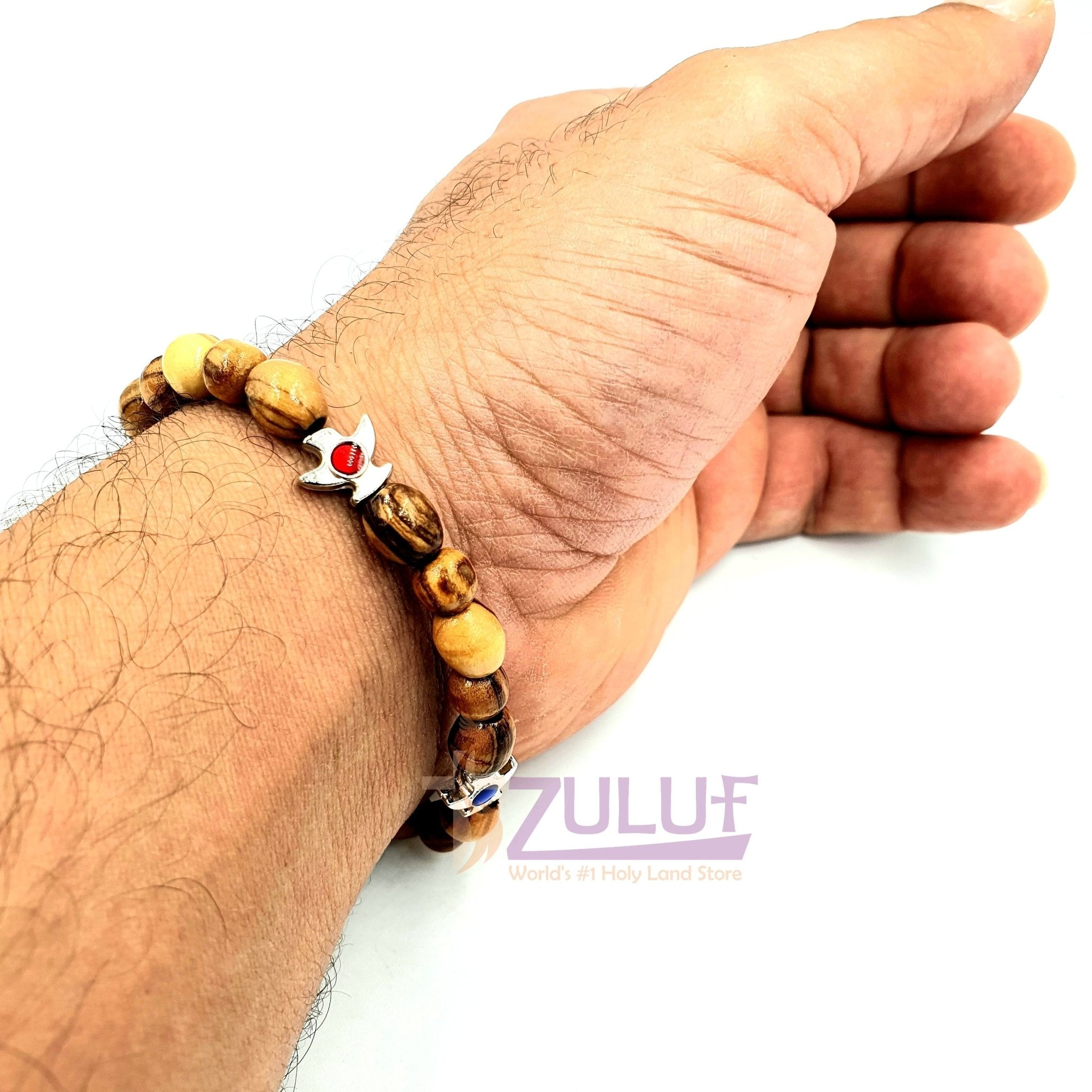 Olive wood hand made bracelet with colored bierds BRA043 - Zuluf