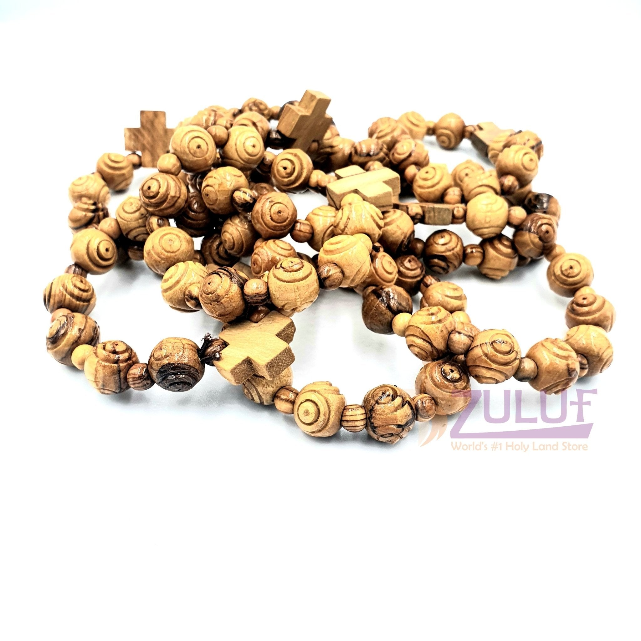 Olive wood hand made bracelet with cross BRA042 - Zuluf