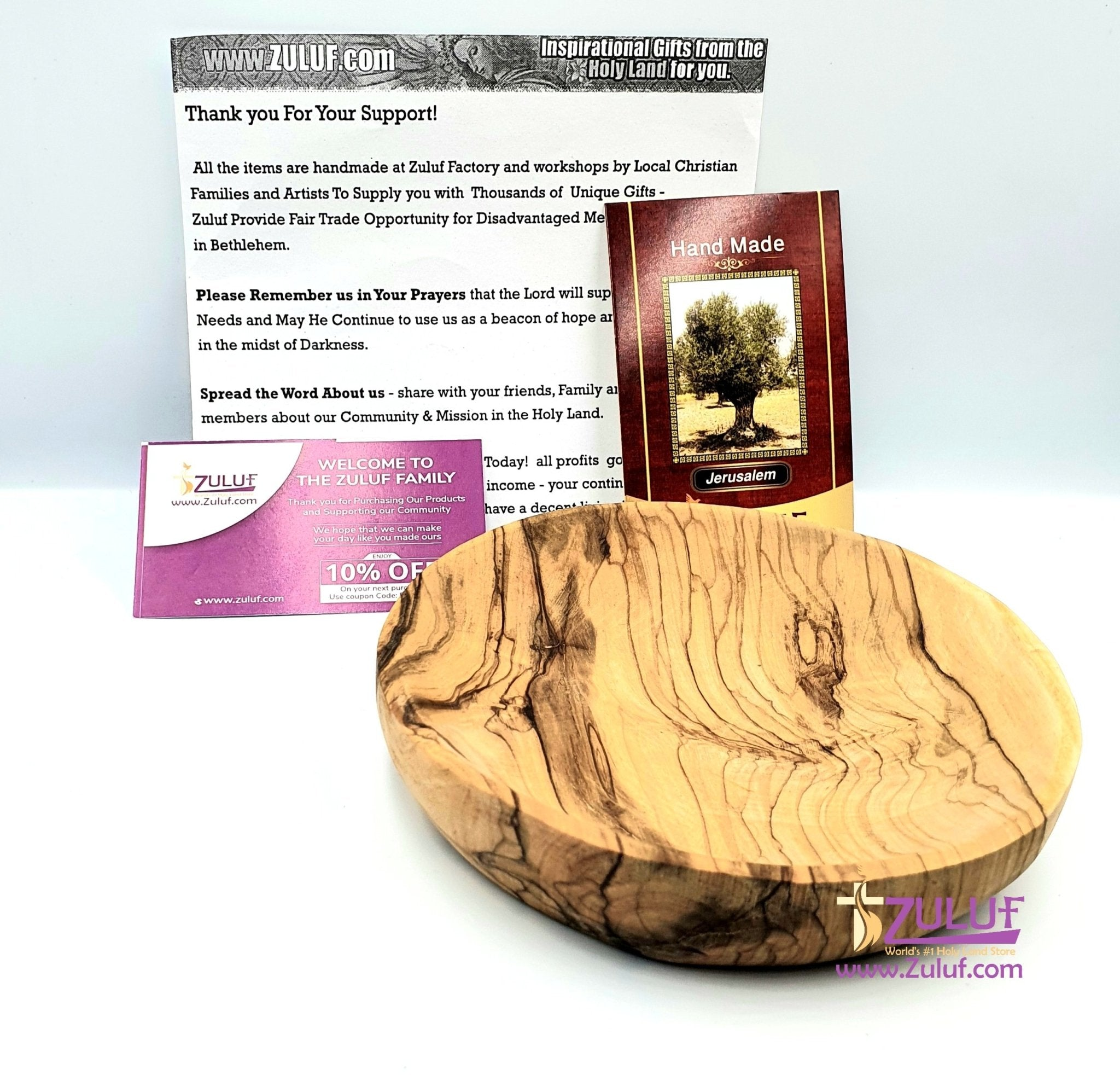 Olive wood hand made garved plate KIT014 - Zuluf
