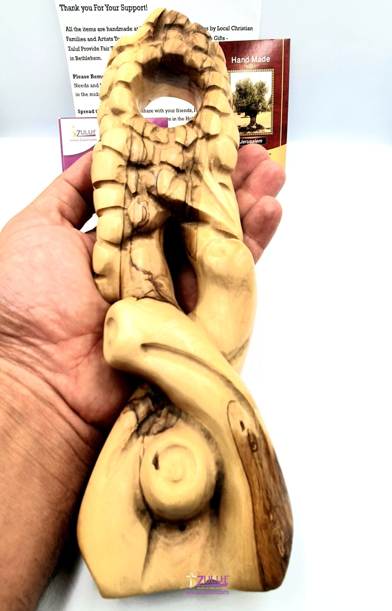 Olive wood hand made garved wine holder KIT018 - Zuluf