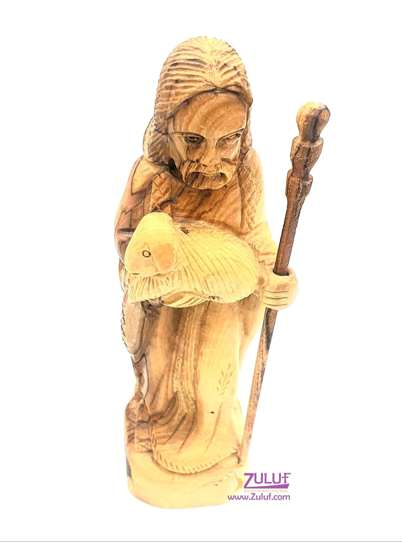 Olive wood hand made Good shepherd Statue FLG050 - Zuluf