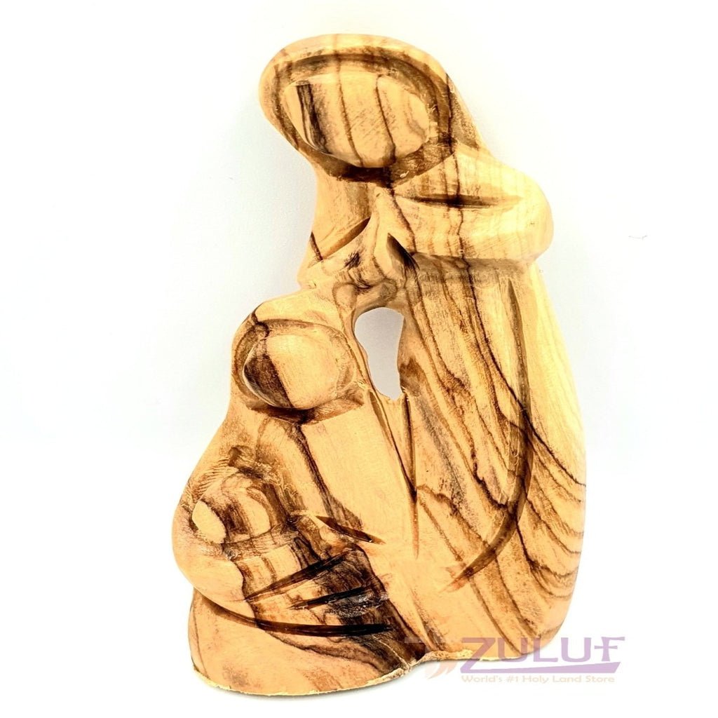 Olive wood hand made holy family Hand Carved piece HOF047 - Zuluf
