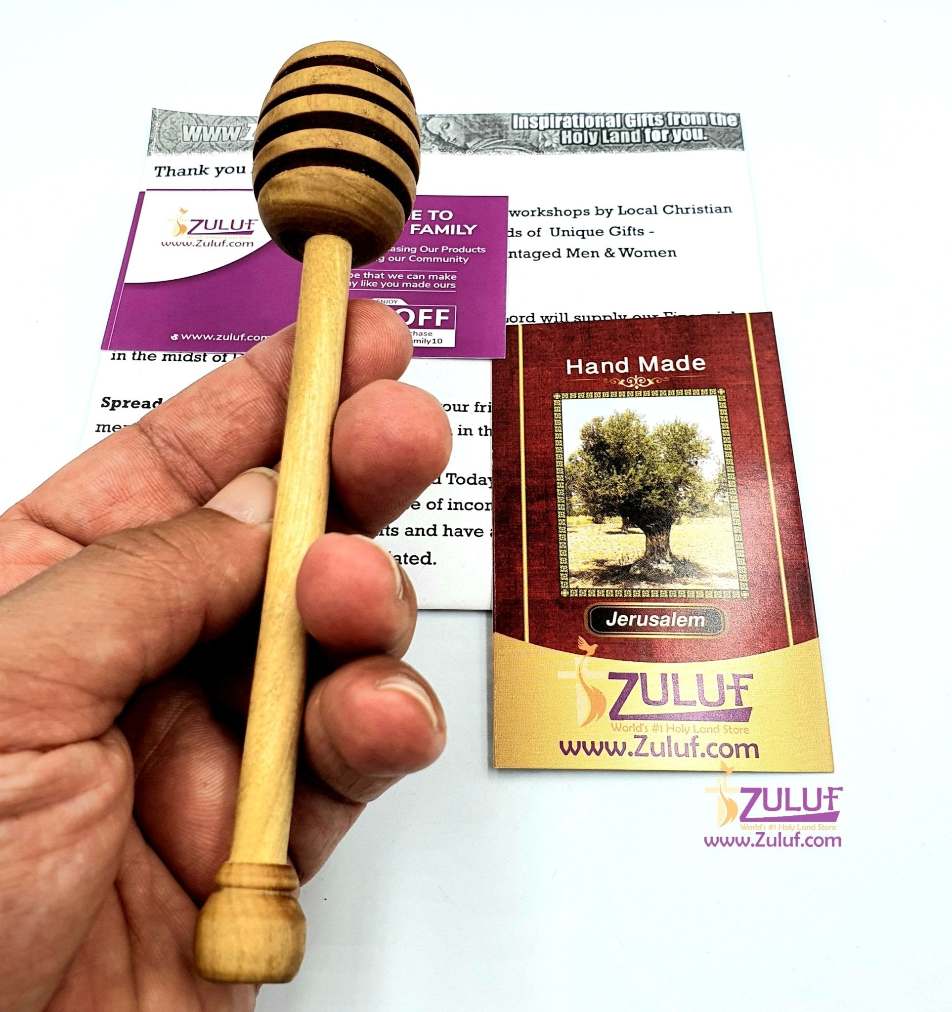 Olive wood hand made Honey stick KIT020 - Zuluf
