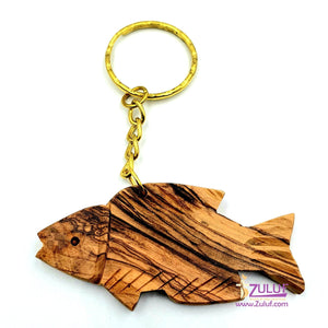Olive wood hand made jerusalem fish keychain KC217 - Zuluf