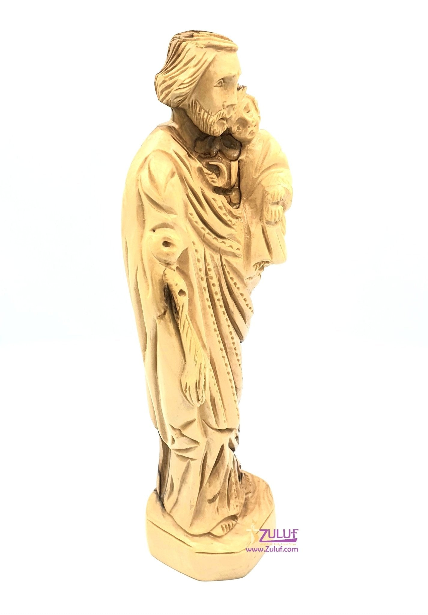 Olive wood Hand Made Joseph Statue Carrying Baby Jesus FLG047 - Zuluf