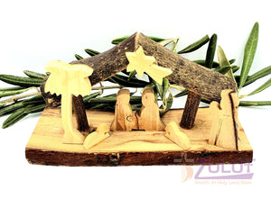 Olive wood hand made nativity Bark Christmas Present NAT019 - Zuluf