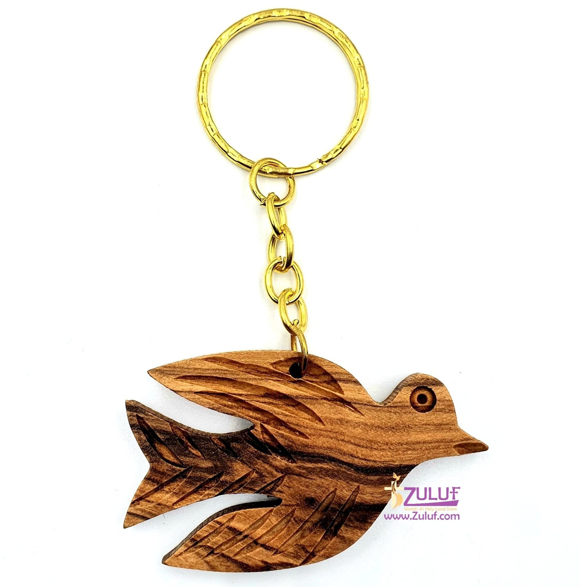Olive wood hand made peace Dove bethlehem keychain KC216 - Zuluf