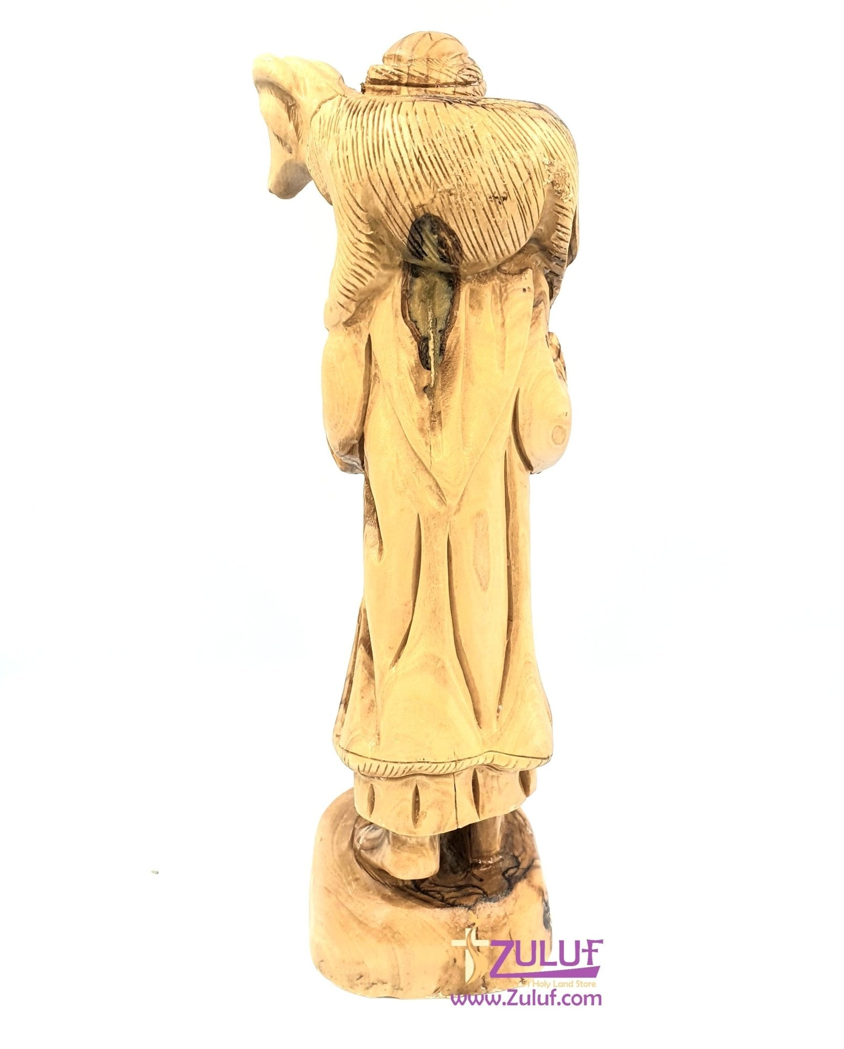 Olive wood hand made shepherd carrying the Lamb statue FLG046 - Zuluf