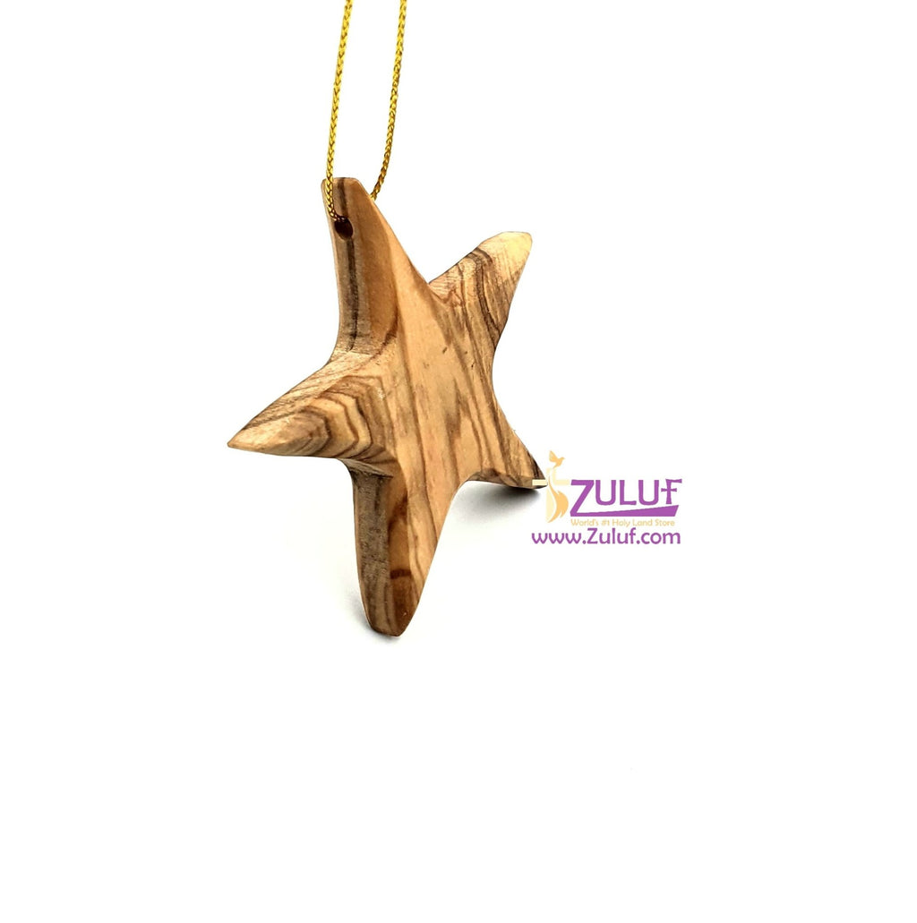 Olive wood hand made star Christmas tree ORN200 - Zuluf