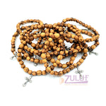 Olive wood hand made with matelic cross bracelet BRA047 - Zuluf