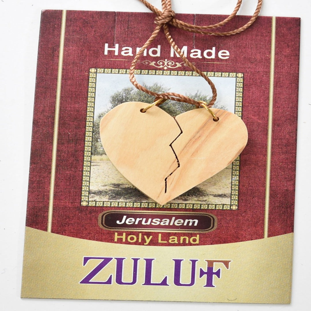 Olive Wood Heart Pendant Necklace Jewelry Handicraft Jerusalem Holy Land Gift (OW-PEN-043) - Zuluf