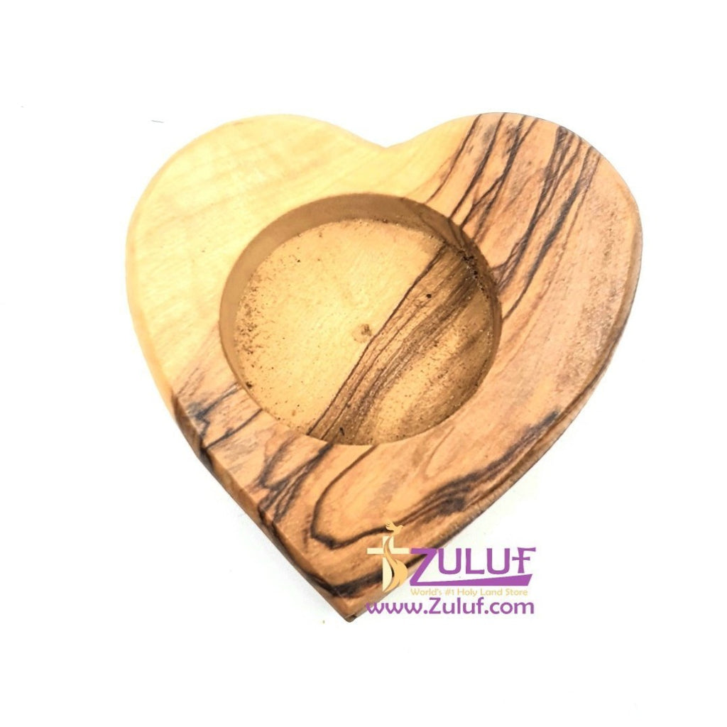 Olive Wood Heart Shaped Candle Holder Wholesale Bethlehem By Zuluf - (CAH004) - Zuluf