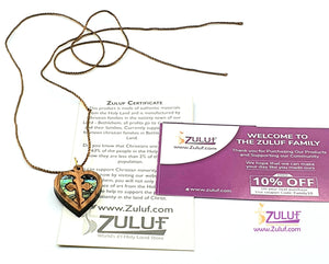 Olive Wood Heart Shaped Necklace by Zuluf PEN191 - Zuluf