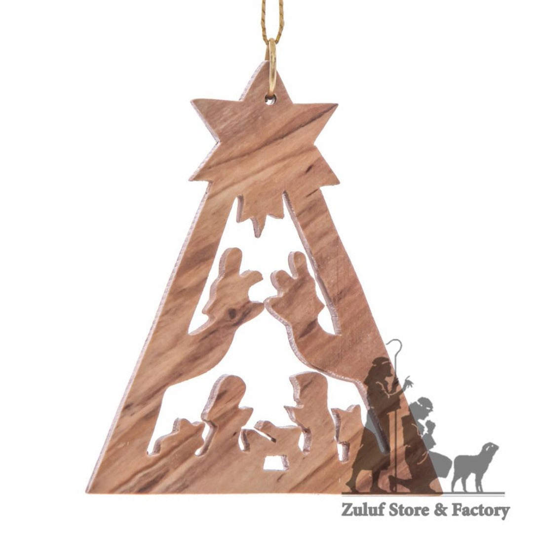 Olive Wood Holy Family with Star Christmas Ornament - Fair Trade & Handmade - Zuluf ORN021 - Zuluf