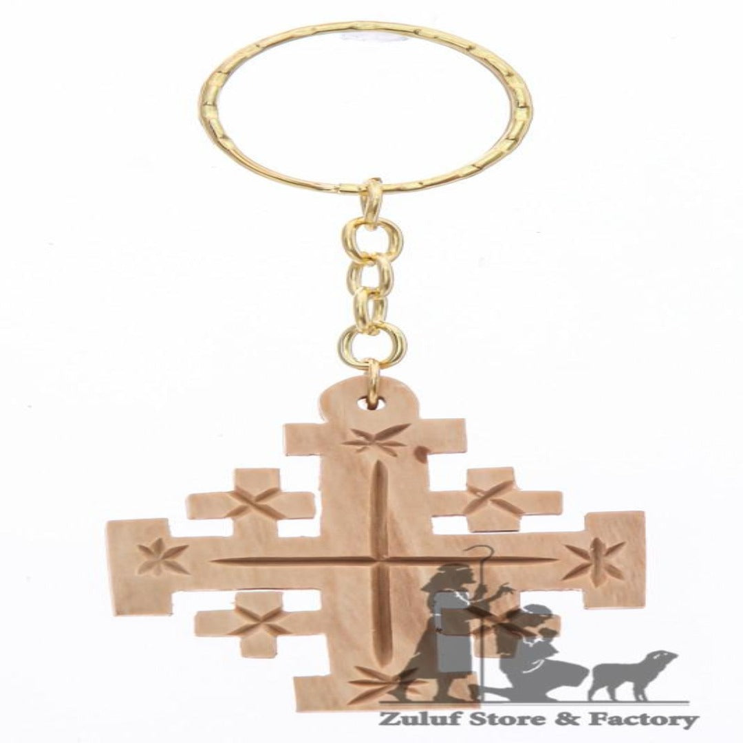 Olive Wood Jerusalem Crusaders Cross Key Chain key rings from Israel (OW-KC-009) - Zuluf
