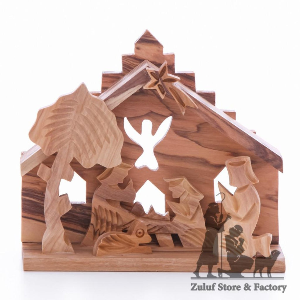 Olive Wood Nativity Grade A Olive Wood Angel Design - NAT024 - Zuluf