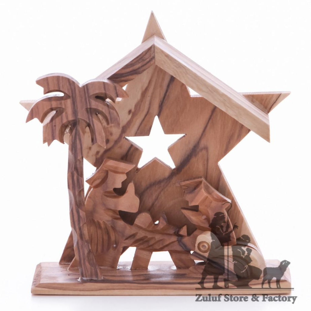Olive Wood Nativity Handicraft from Bethlehem Fair Trade Holiday Gift Zuluf - NAT036 - Zuluf