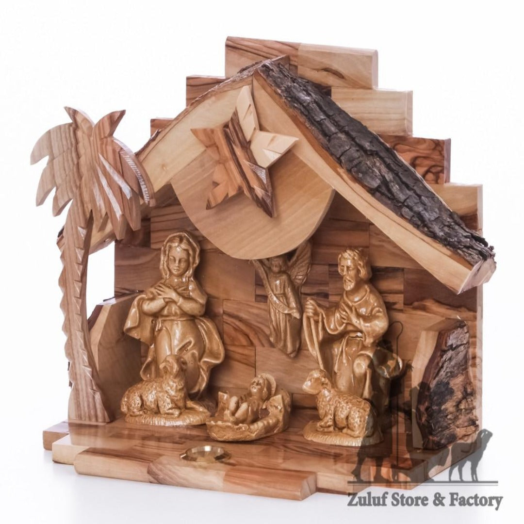 Olive Wood Nativity with Ceramic Figures Christmas Gift Zuluf - NAT021 - Zuluf