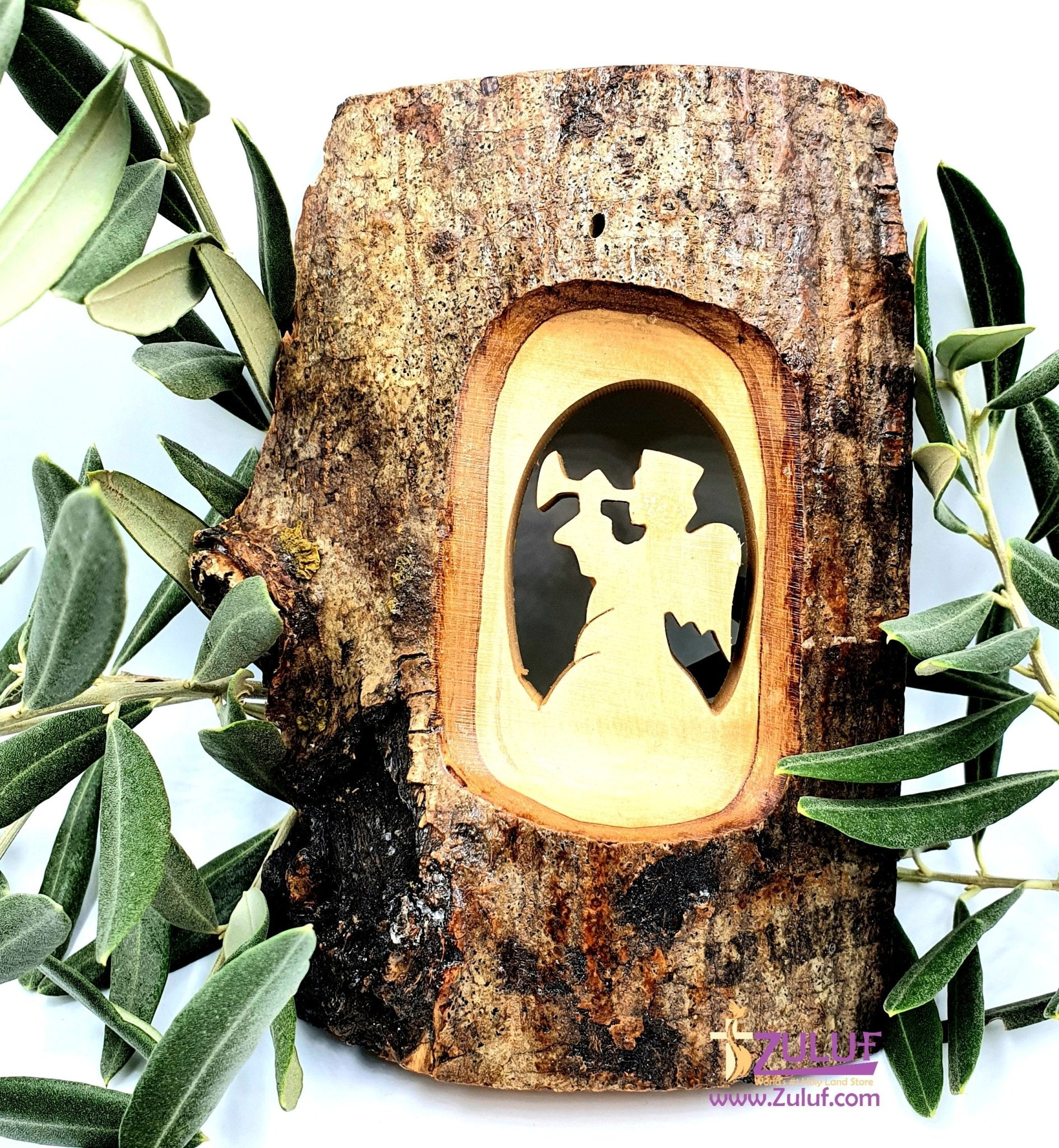 Olive Wood Natural Bark Décor Christmas Gift Angel Olive Wood Product Zuluf- HLG007 - Zuluf