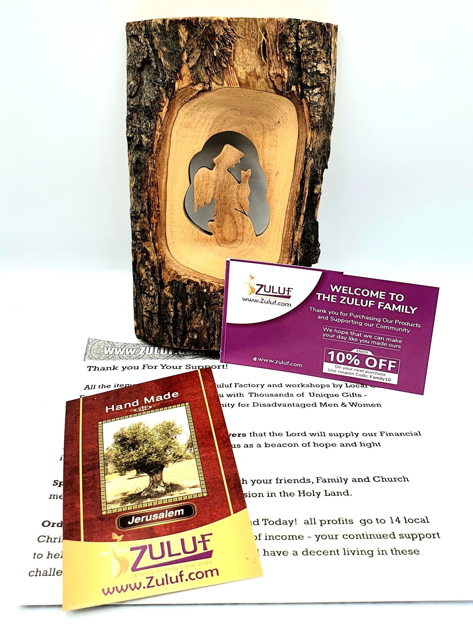 Olive Wood Natural Bark Décor Christmas Gift Praying Angel Olive Wood Product Zuluf- HLG234 - Zuluf