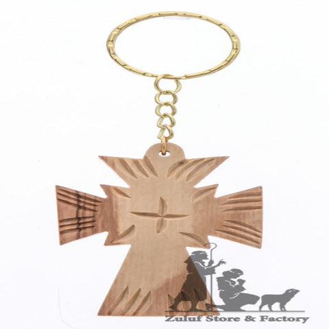 Olive Wood olivewood Cross Key Chain Bethlehem Holy Land hand carved (OW-KC-002) - Zuluf