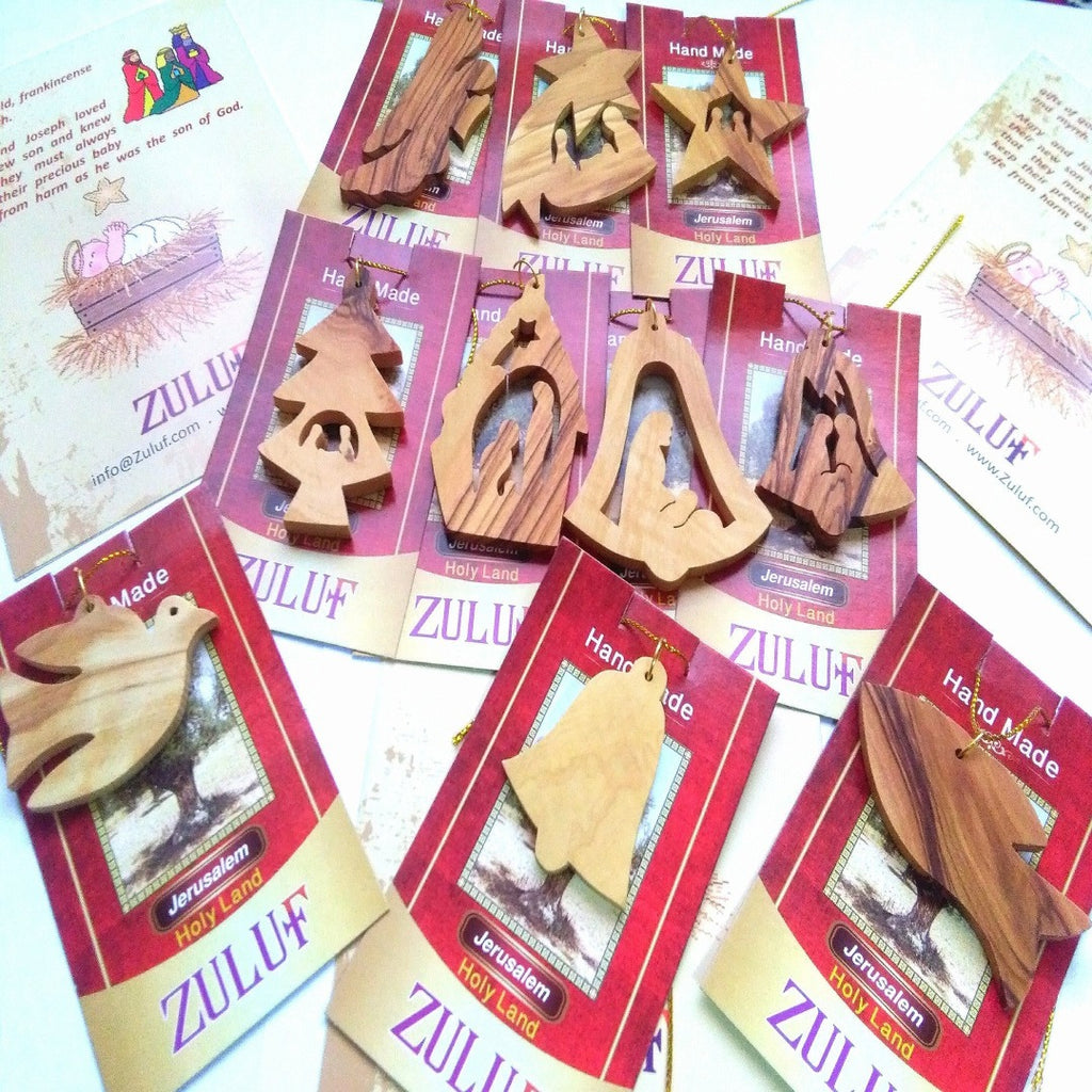 Olive Wood Ornaments Mix of 10 Ornaments - Zuluf ORN041 - Zuluf