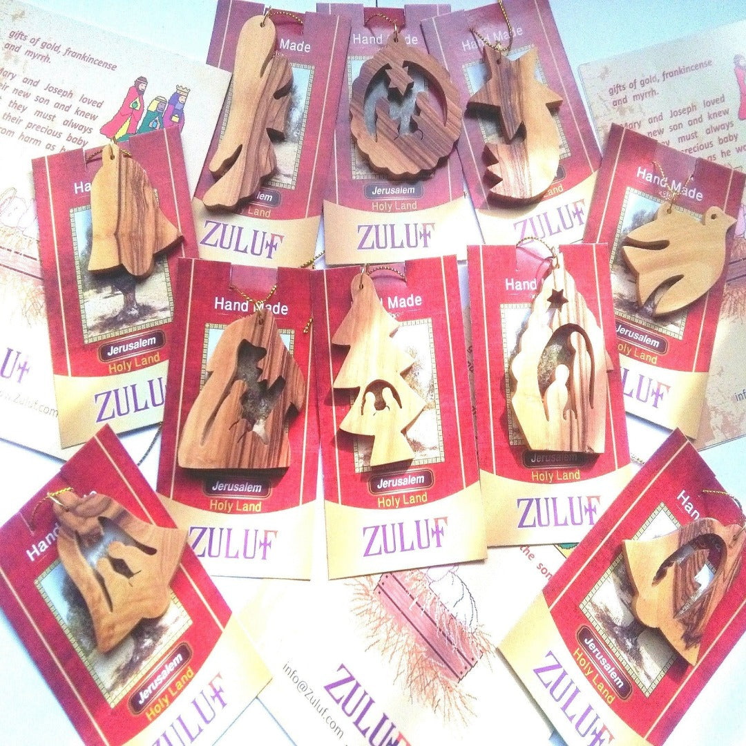 Olive Wood Ornaments - Mix Set of 10 Ornaments - Zuluf ORN039 - Zuluf