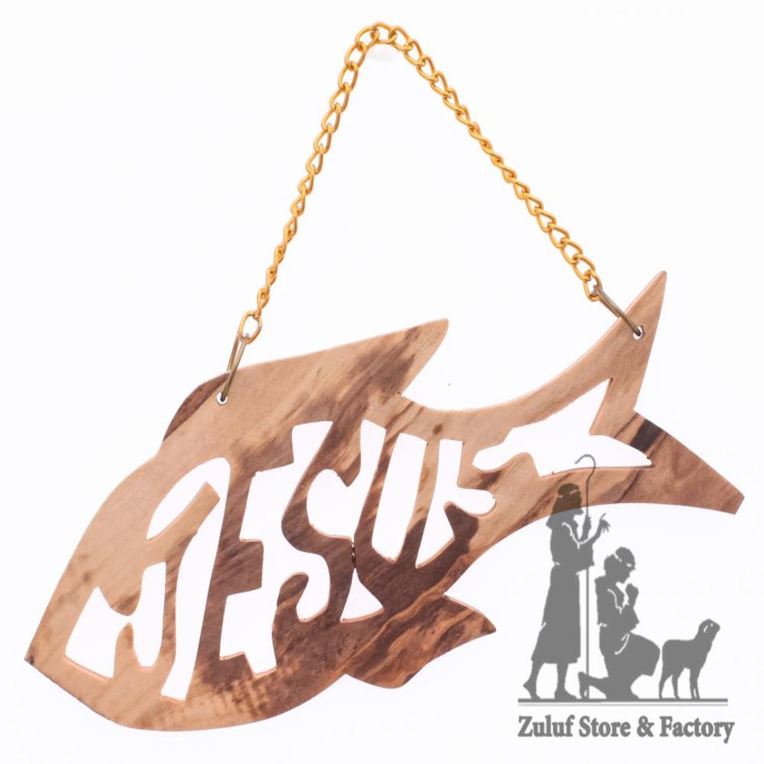 "Olive Wood Orniment Wall Hanging Jesus name Engraved Inside Ichthus By Zuluf - 12.5*5CM/4.9*1.9"" (ORN066) - Zuluf"