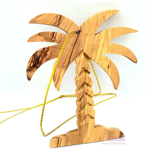Image of Olive Wood Palm Tree - Fair Trade & Handmade - Zuluf ORN023 - Zuluf