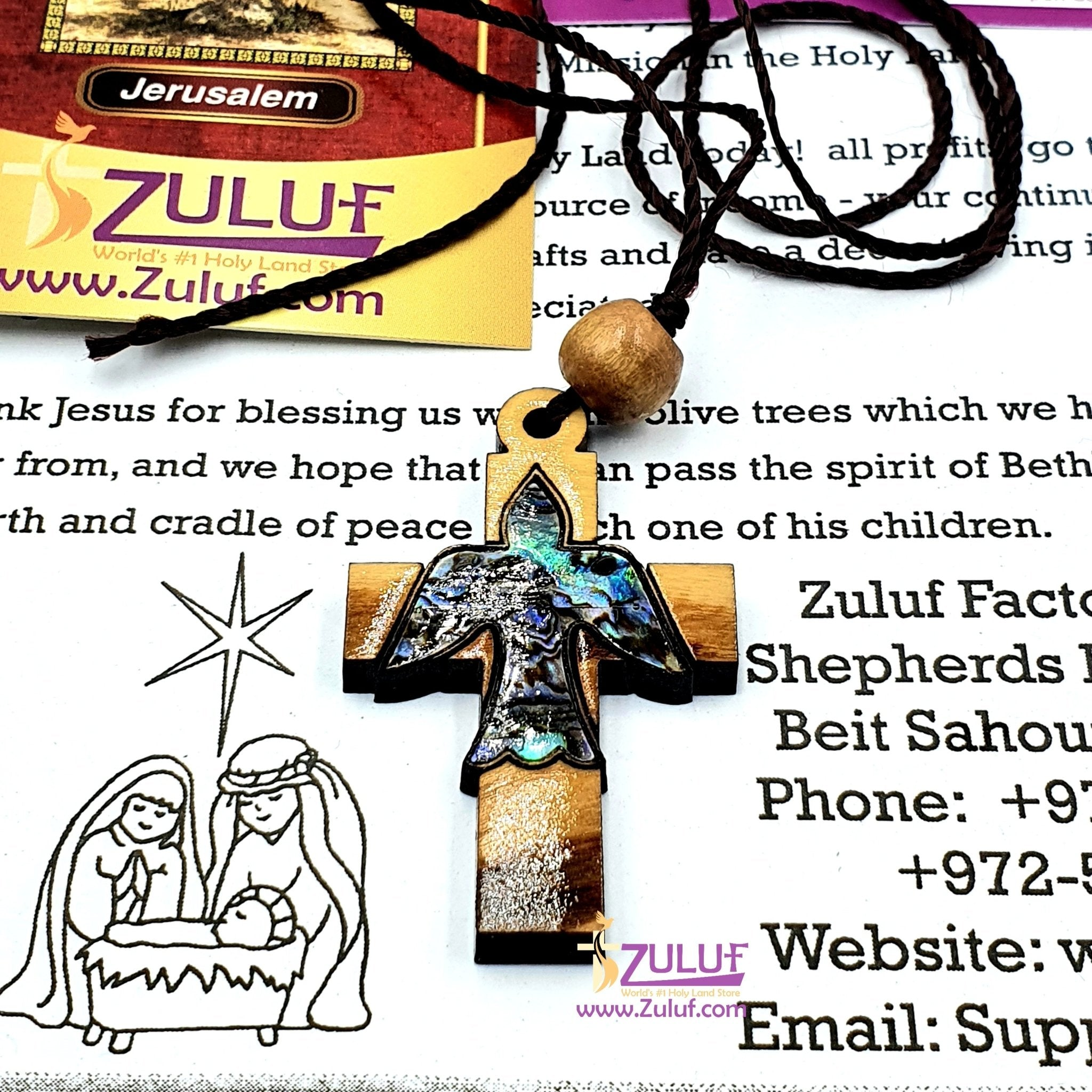 Olive wood Peace Dove Cross Mother of Pearl by Zuluf PEN186 - Zuluf