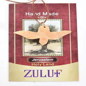 Olive Wood Peace Dove Pendant Necklace Olive Wood From Holy Land Bethlehem (OW-PEN-019) - Zuluf