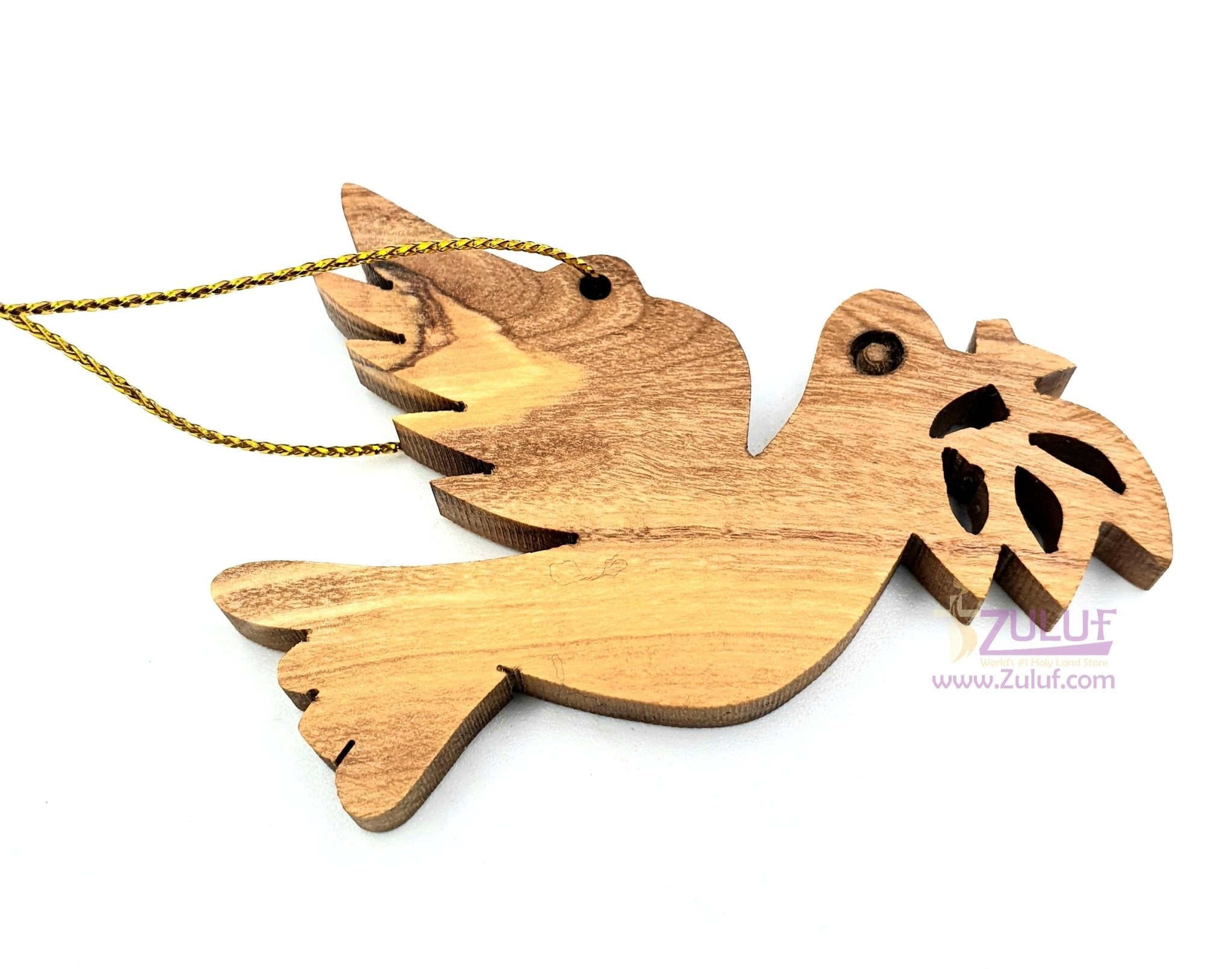 Olive Wood Peace Dove with Olive Branch Christmas Ornament - Fair Trade & Handmade - Zuluf ORN027 - Zuluf