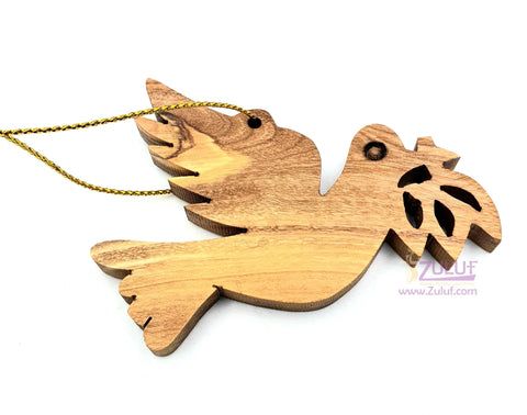 Image of Olive Wood Peace Dove with Olive Branch Christmas Ornament - Fair Trade & Handmade - Zuluf ORN027 - Zuluf