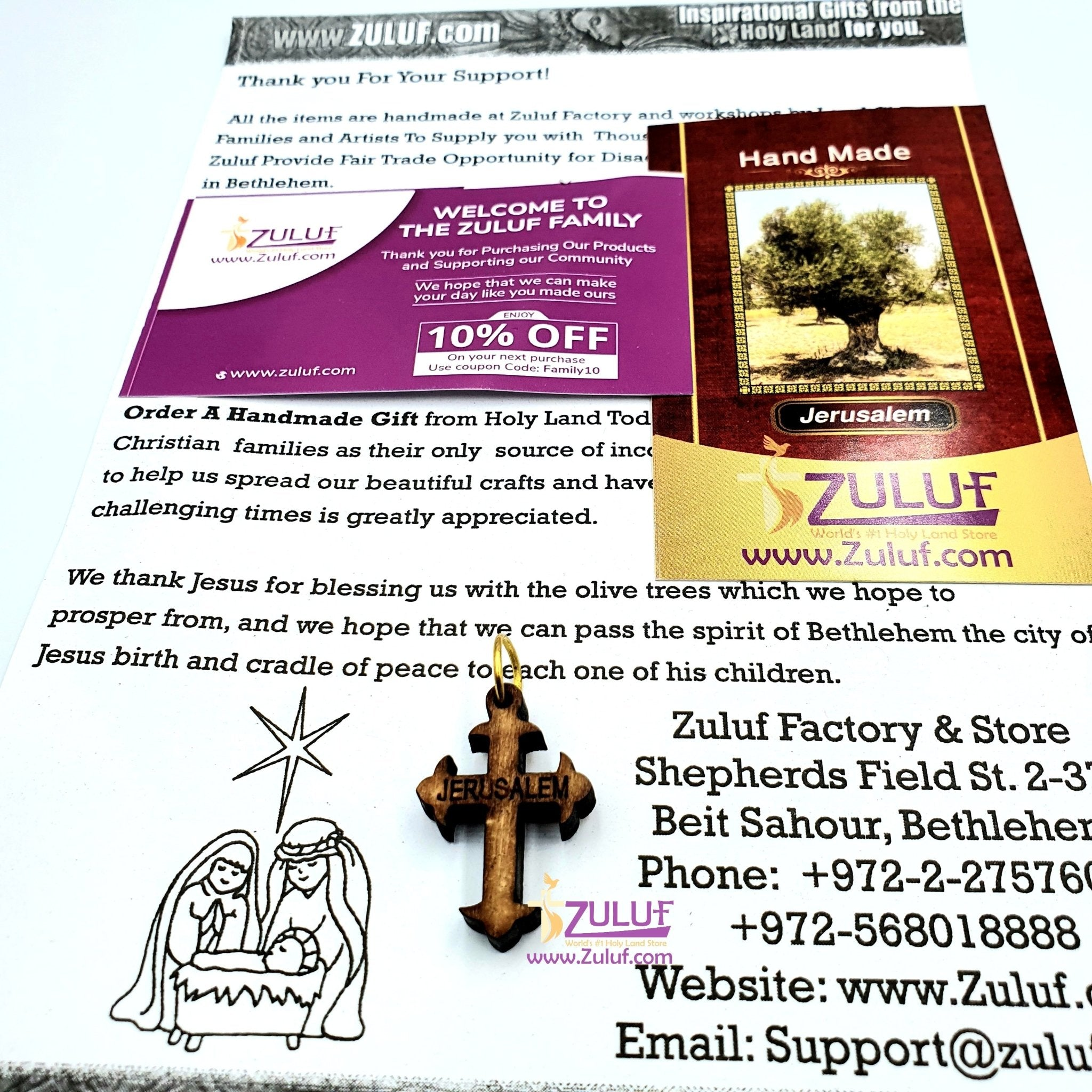 Olive Wood Pendant Charm Cross by Zuluf - PEN076 - Zuluf