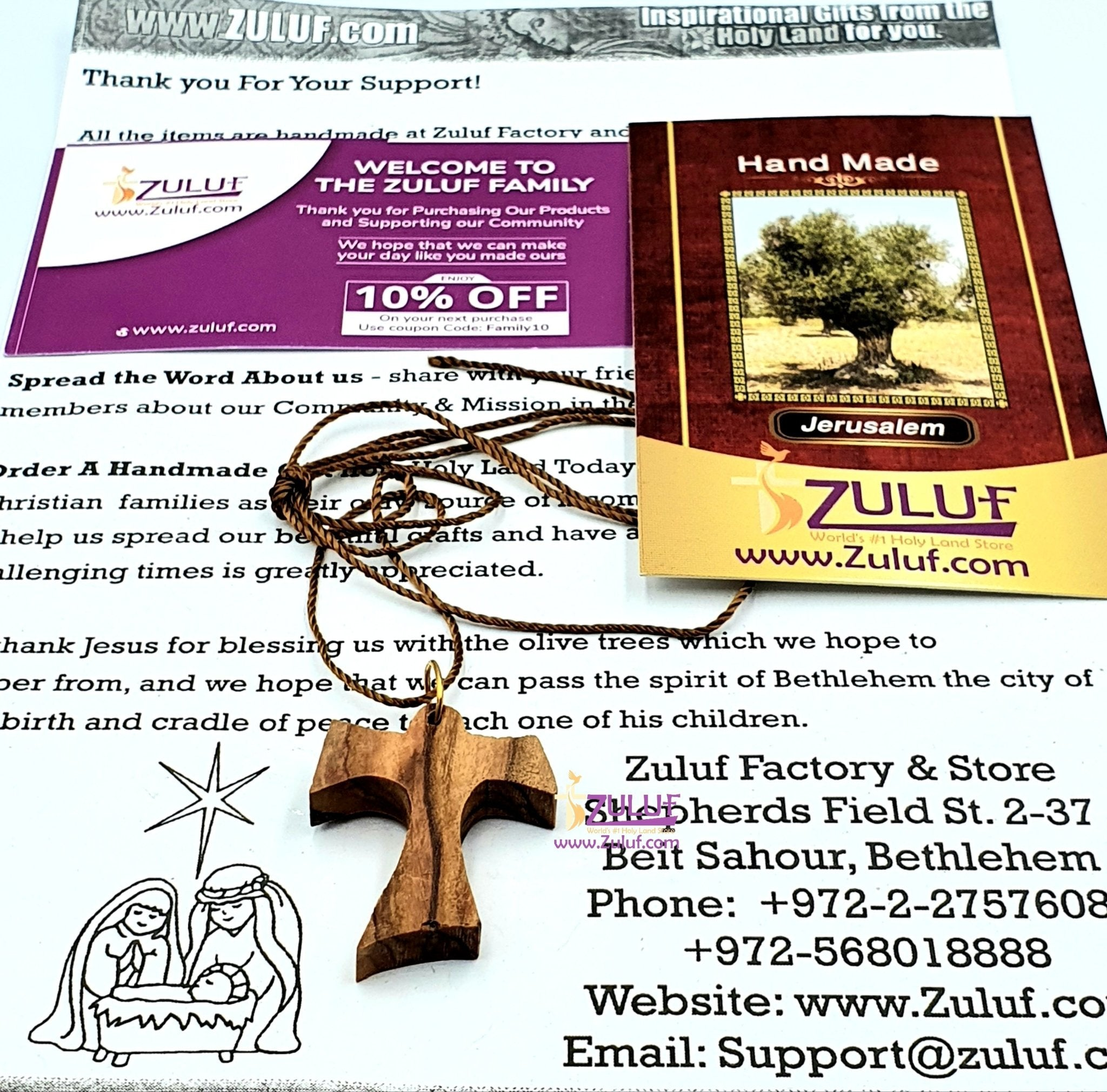 Olive Wood Pendant - Christian Tau Tao Cross Franciscan Hand Made Bethlehem - PEN116 - Zuluf