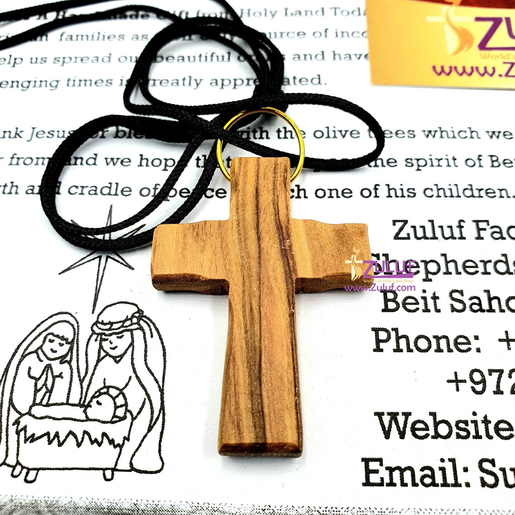 Olive Wood Pendant Hand Made Olive Wood Cross Pendant 1.5 inches Height - PEN120 - Zuluf